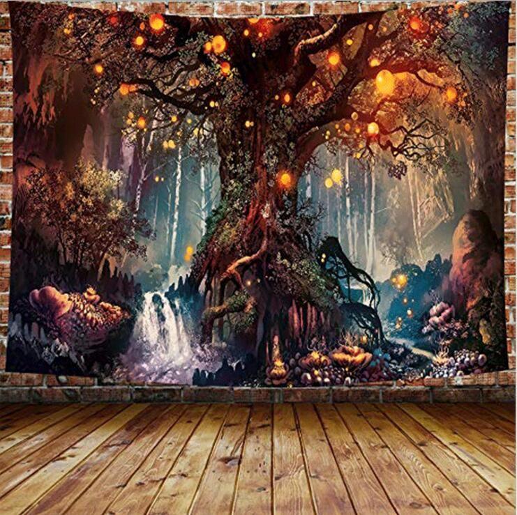 Parede da floresta trippy que pendura a aldeia da vila da vila da tapeçaria mundial psicodélico da parede da tapeçaria da hippie do mundo para o quarto