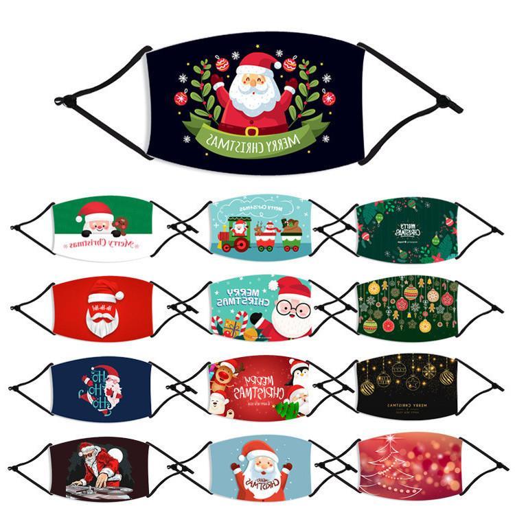 Máscaras de Santa Claus Impreso algodón para niños de Navidad Feliz Navidad Máscaras faciales anti boca del polvo de la cubierta lavable de retorno con filtro Partido Máscaras Fy4241