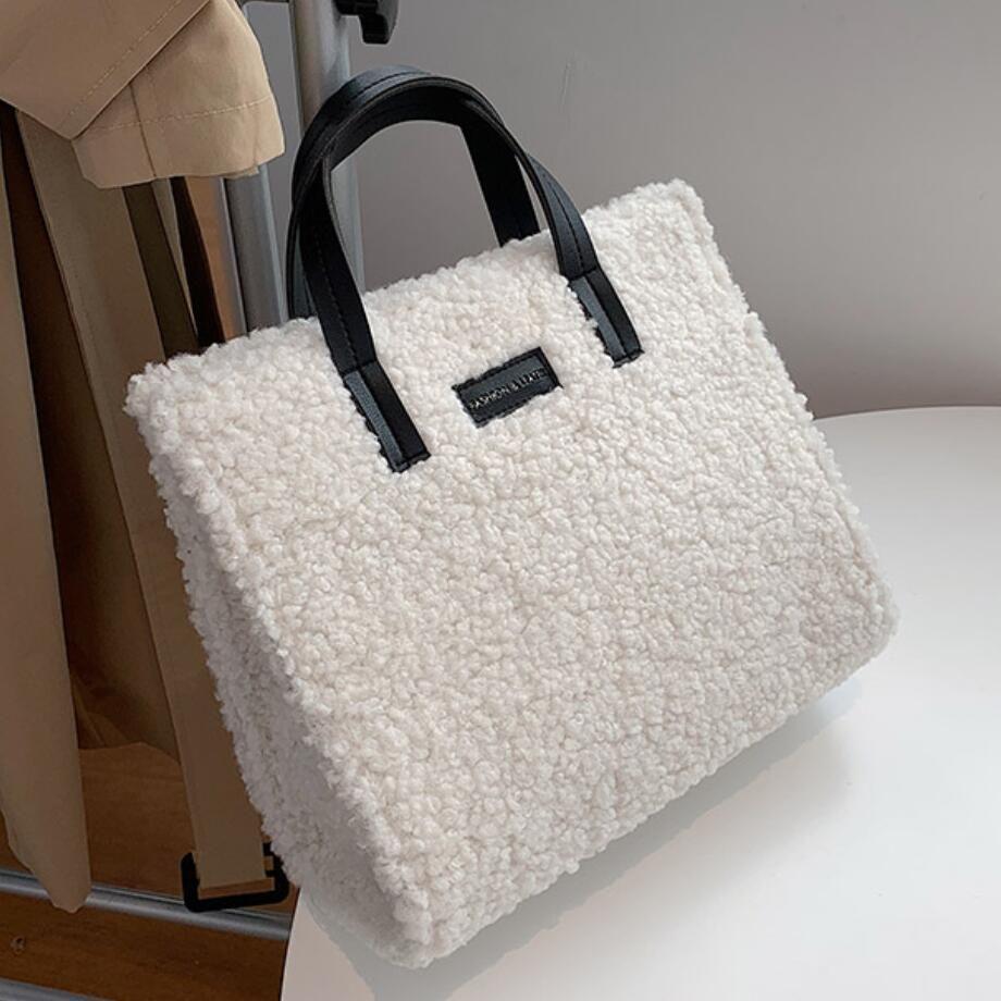 Fashion Lambswool Tote Women Shoulder Casual Soft Plush Women's Designer Handbag Travel Crossbody Messenger Bag Female Purse Q1230