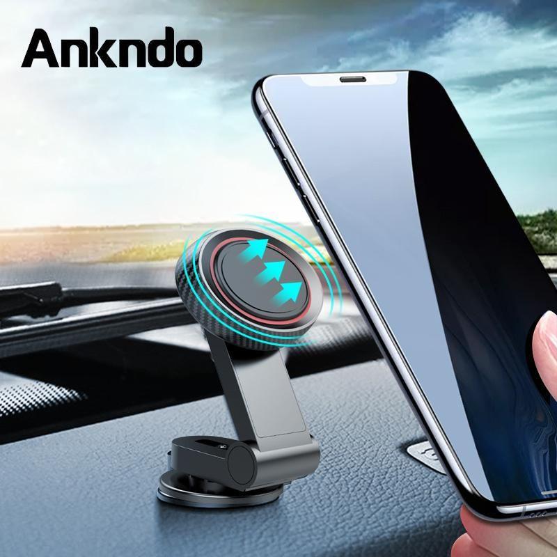 Ruotare il supporto del telefono in automobile magnetica Supporto universale del telefono mobile del cellulare pieghevole Bracciale ricarica basamento per