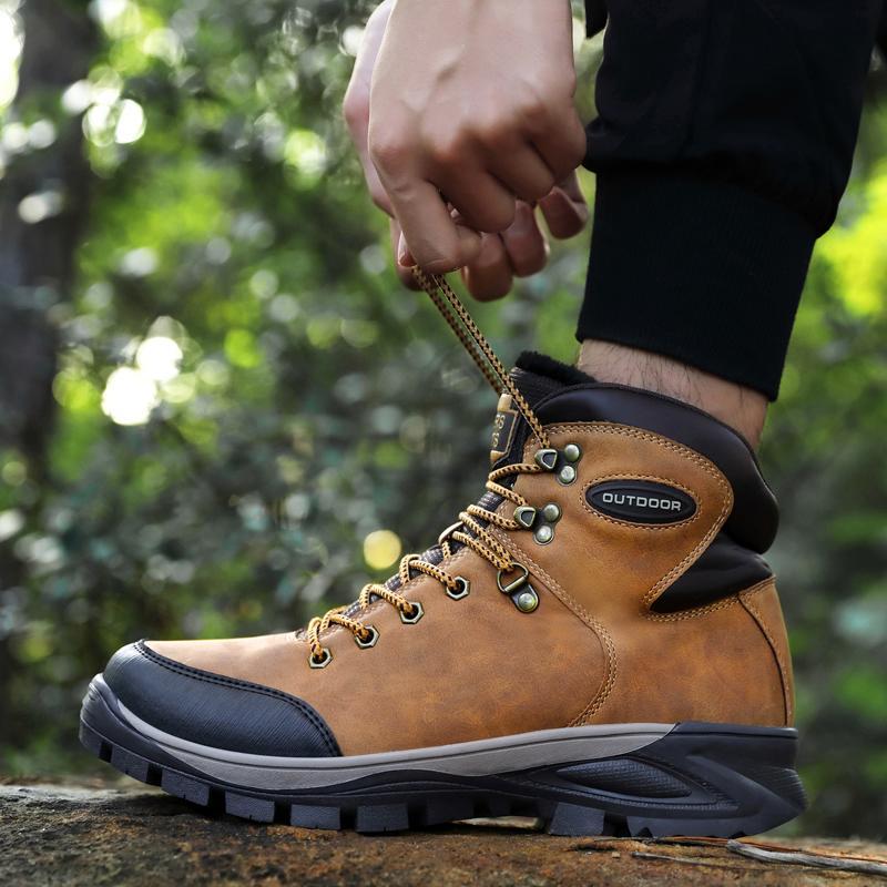 Bottes de neige hiver pour hommes chauds Hommes de haute qualité étanche cuir baskets de randonnée militaire d'extérieur chaussures de travail 40-47 201203