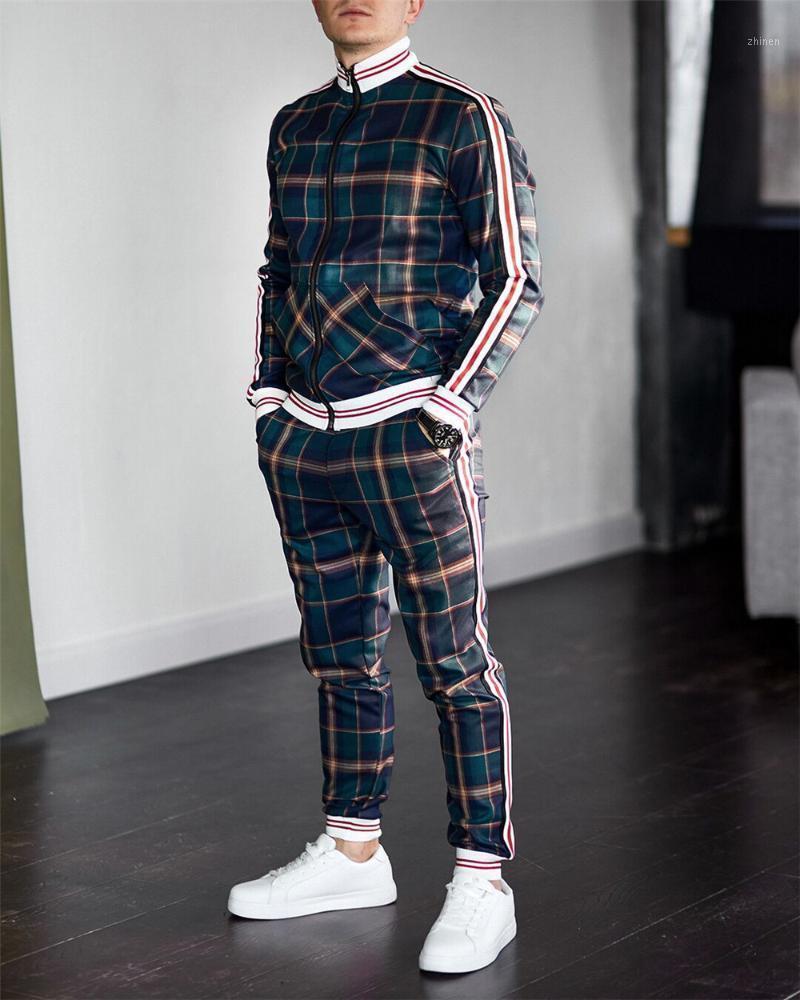 Мужской трексуит весна осень мода плед трексуита повседневный двух частей набор мужских спортивных костюмов одежда мужская набор1