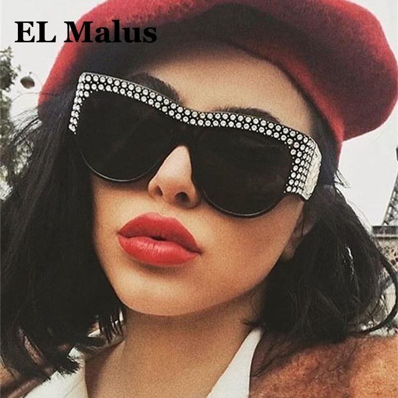 [El Malus] 2020 Big Occhiali da sole telaio oversize Uomini Donne Imitazione Diamante Retro Brand Designer di alta qualità Occhiali da sole femminile