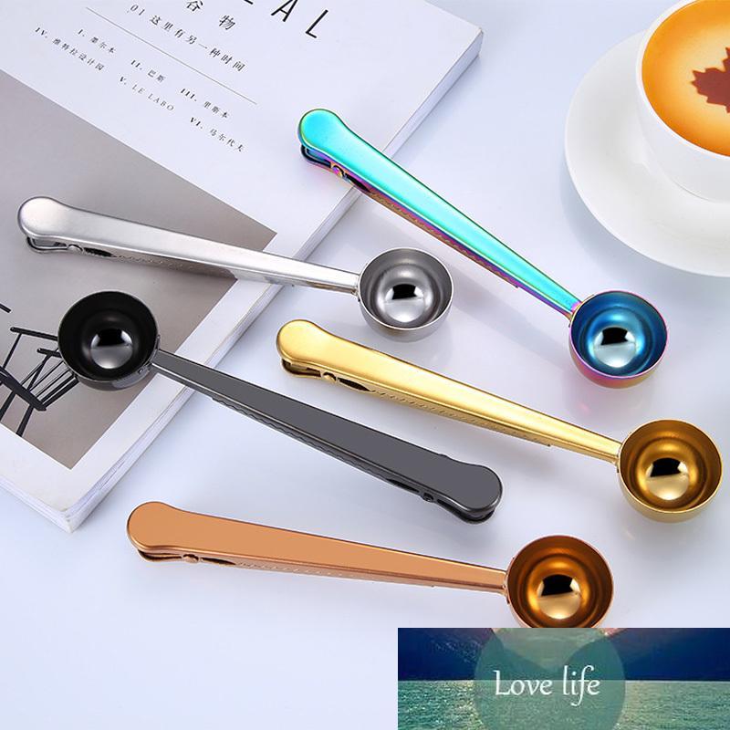Cuchara de café de acero inoxidable con Clip, cucharada chapadas ro, cucharillas medidoras , accesorios cocina