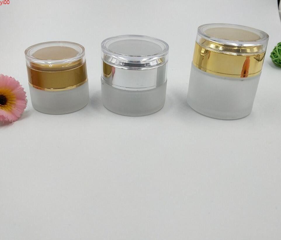 Оптовая продажа 20G 30G 50G матовое стекло сливки банка пустые бутылки косметический контейнер с алюминиевым капкравлитом