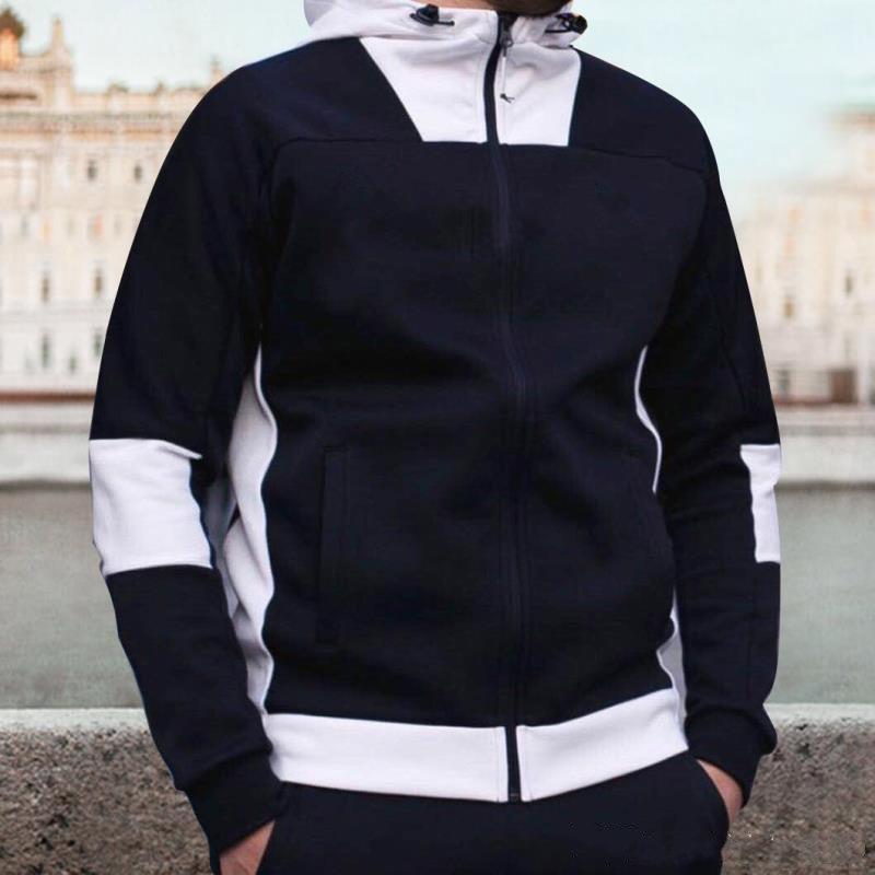 Пальто активный дизайнер Мужская тонкая толстовка роскошные мужские лоскутные толстовки мода с капюшоном с капюшоном с капюшоном с капюшоном