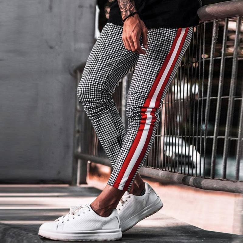 Plaid cordón largo pantalones largos hombres 2020 joggers de moda deportes casual deportes pantalones pantalón homme