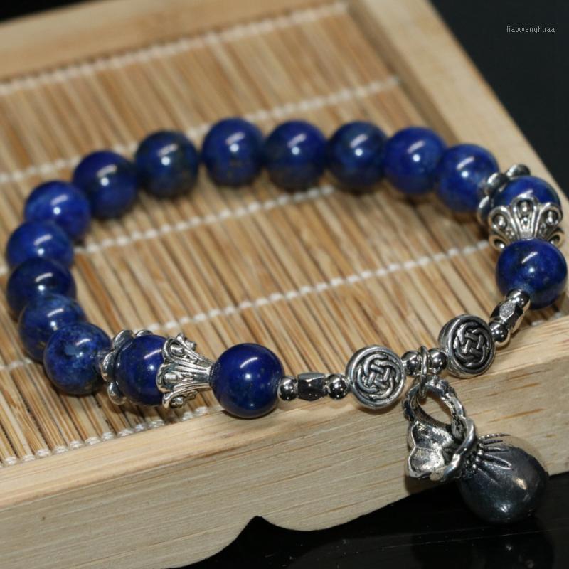 Natural azul lapis lazuli redondo grânulos 8mm mulheres braceletes semiprecioso pedra de alta qualidade moda jóias fazendo 7.5inch b20681