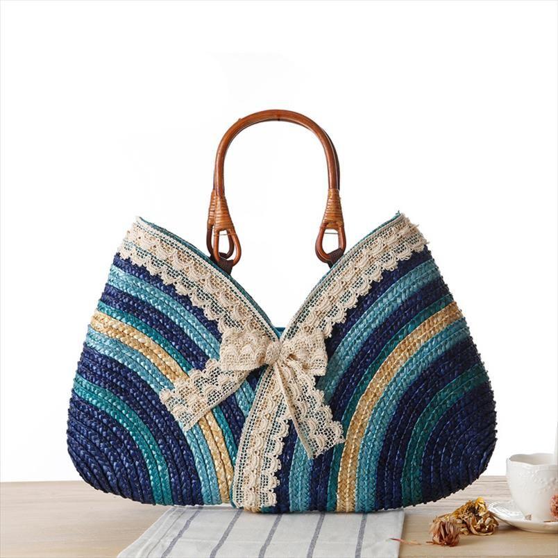 Donne Beach Summer Fashion Weave Bow Straw Rattan Borsa intrecciata Paglia Spiaggia Boemia Boemia Boemia Shopping Tote Bag CCCPR
