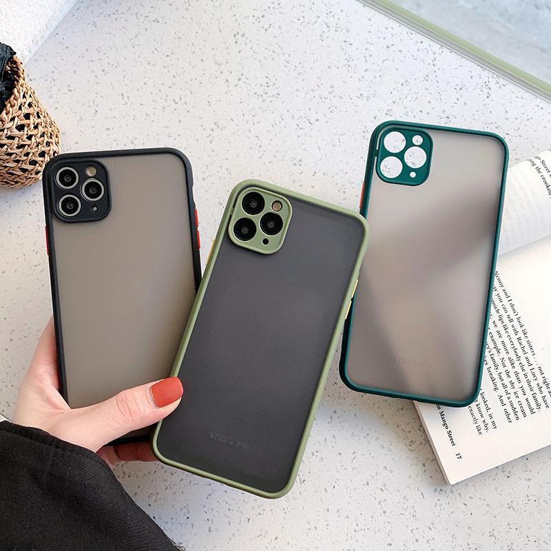 Capa protetora de lente de câmera fosca translúcida para iPhone 12 11 XR XS MAX 7 8 PLUS SE 2020 6 6S Caso de telefone completo cobrança à prova de choque