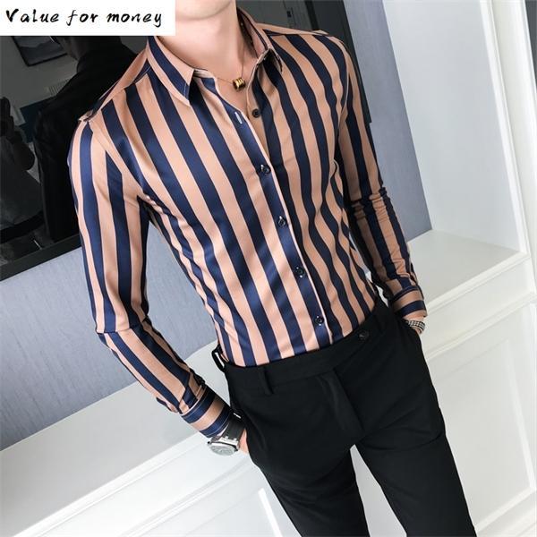 Bluzlar Şerit Kendini Yetiştiriciliği Baskı Kaliteli Çizgili Iş Gömlek Erkekler Slim Fit Uzun Kollu Beyler Erkek Giyim C1212