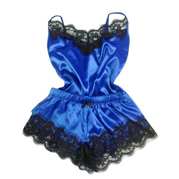 النساء الأزياء الدانتيل الخامس الرقبة منامة مجموعة الملابس الداخلية بلا أكمام نوم السباغيتي حزام سترة + السراويل القصيرة النوم ارتداء 2020
