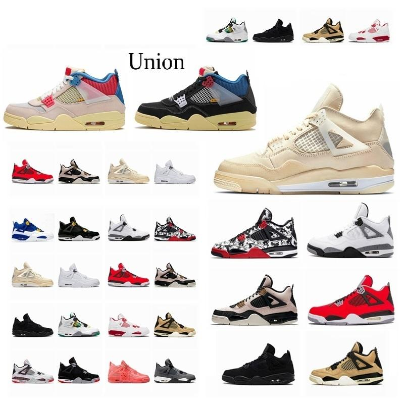2021 4 4s Union noir guava ice Jumpman Mens Shoes sail Neon metallic purple basketball Sneakers Black cat bred Fire Red Trainers tin2#