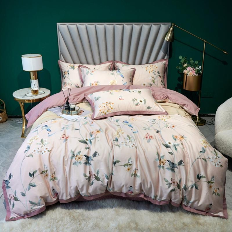 Rosa Pastoral Bedding Set 100% Egípcio Algodão Bedclothes Flor Floral Flor Impressão de Cetim Girl Devet Capa Queen King Size HomeTexitle