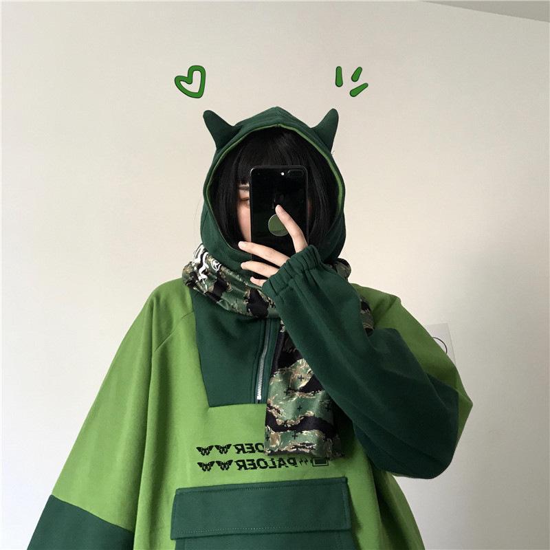 Harajuku Frog Anestés Anime Hoodie Mujeres Green Manga larga Streetwear de gran tamaño KPOP Gótico Cosplay Winter Ropa Y2K Tops Q0104