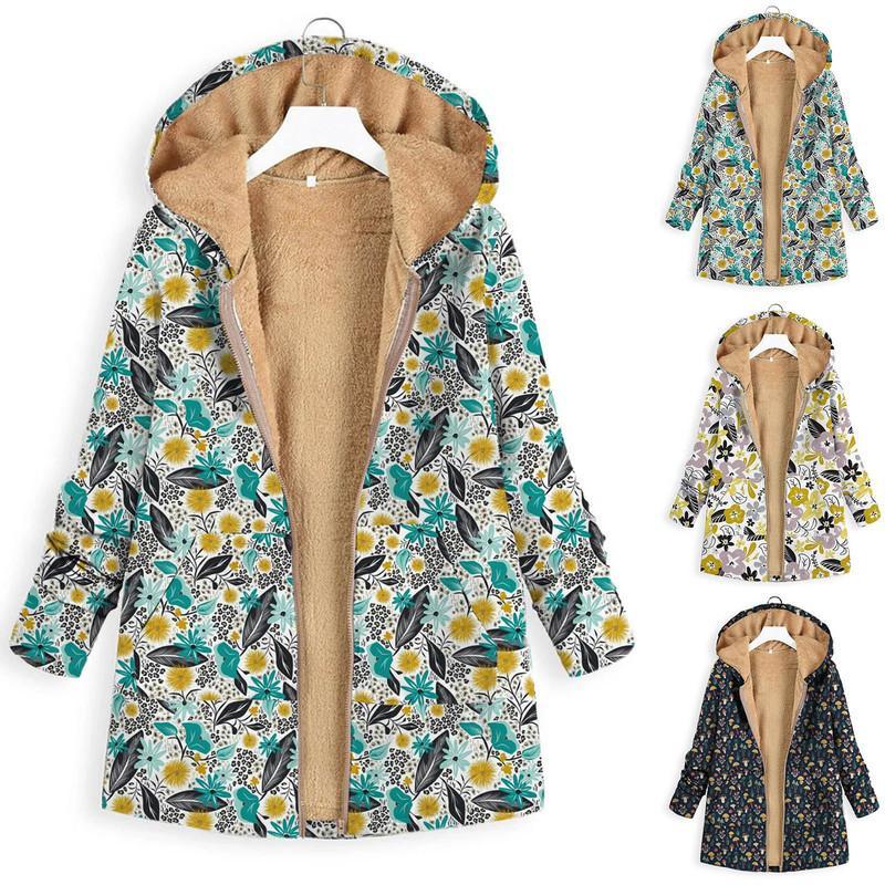 Capa de mujeres con capucha, impresión de invierno, bolsillo, ventaja, tamaño grande, retro, floral, informal