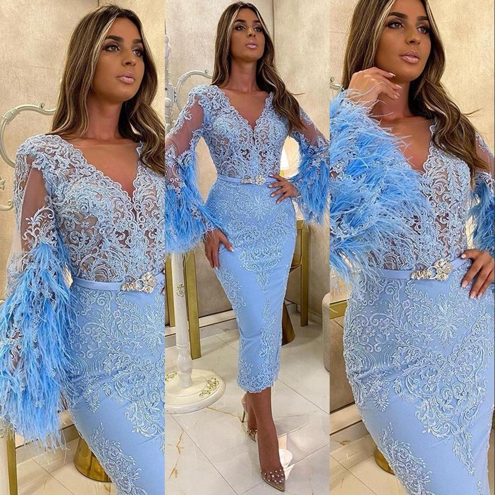 Sky Blue Arabic ASO EBI Vestidos de noche EBI desgaste para las mujeres V Mangas largas Mangas largas Longitud de té de encaje de plumas Vestido de fiesta formal Vestido de fiesta