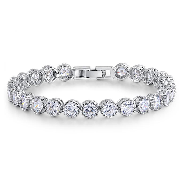 luxury round CZ 925 sterling silver tennis Bracelet & bangles for Women Jewelry wedding party christmas gift LJ201020