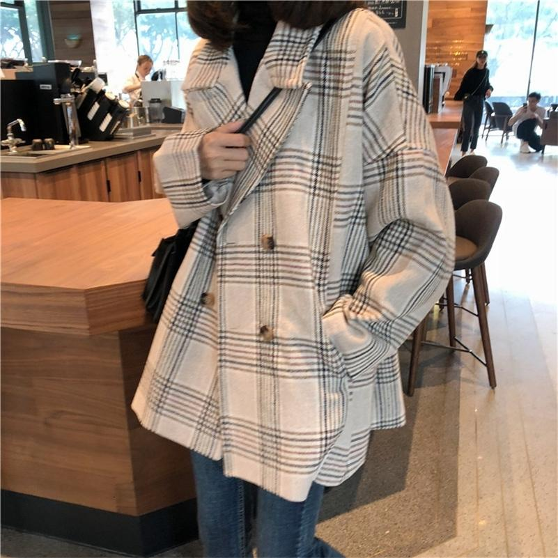 Women Autumn Winter Plaid Trench Coat Long Clothes Overcoat with Cotton Inside Plus Size Manteau Femme Casaco Feminino LJ201128