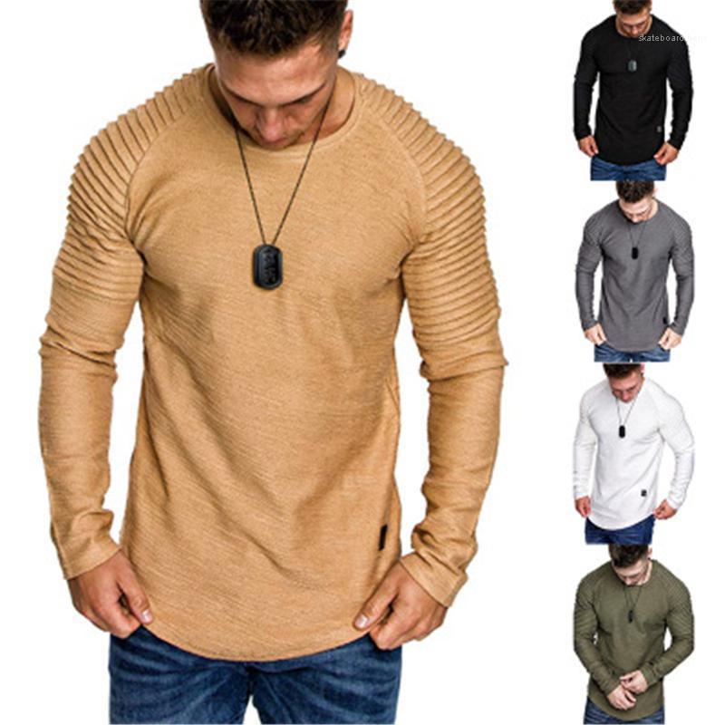 Tshirt Fashion Trend Folds Long Sleeve Round Neck Skinny Tops Tees Spring Male New Irregular Hem Casual Slim Tshirt Mens Solid Color