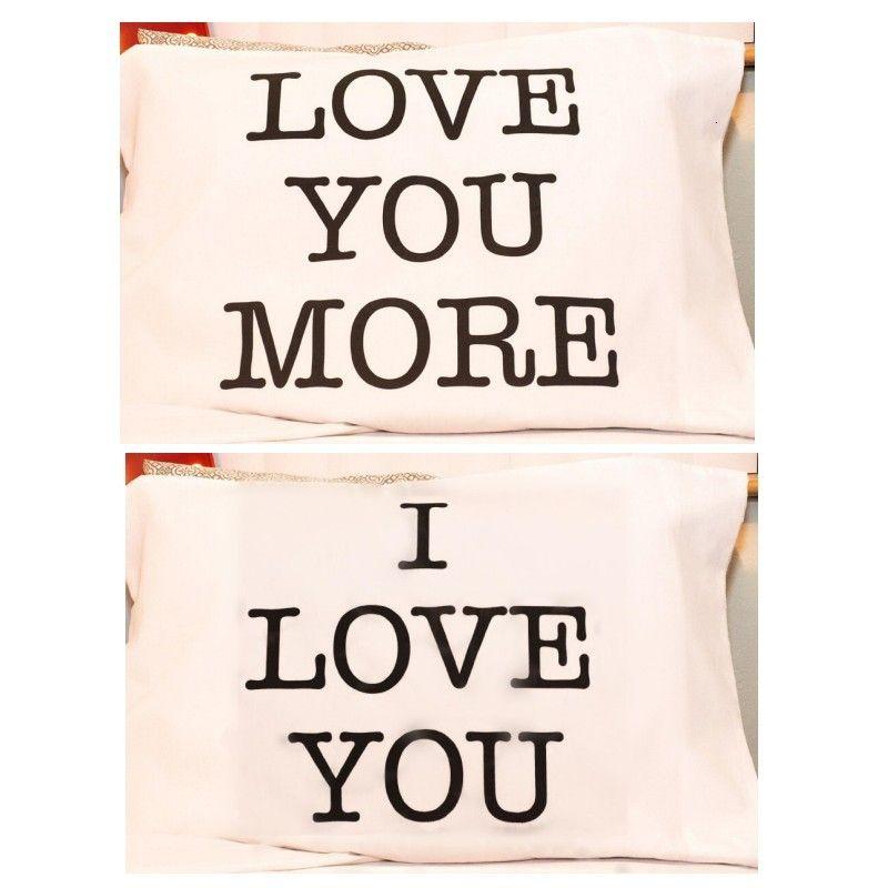 Carta de la funda de almohada blanca Te amo más rectángulo CUBIERTE CUBIERTA DE CUJIZACIÓN DE TARJETOS DÍA DE VALENTINSLIP 50 * 70CM Amantes Decoración para el hogar Romance 10XL G2