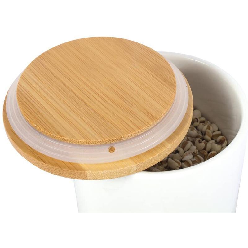 Tapa de albañil Cordones de bambú reutilizables Lids con orificio de paja y sello de silicona para tarros de masón Frascos para beber Tapa BWC3562