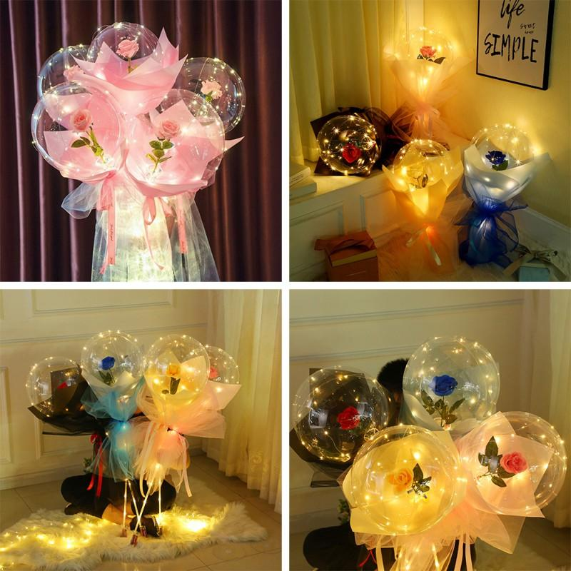 LED Luminous Balloon Rose Bouquet Valentines Day Gift Transparent Lighting Rose Balloon Birthday Party Wedding Decoration