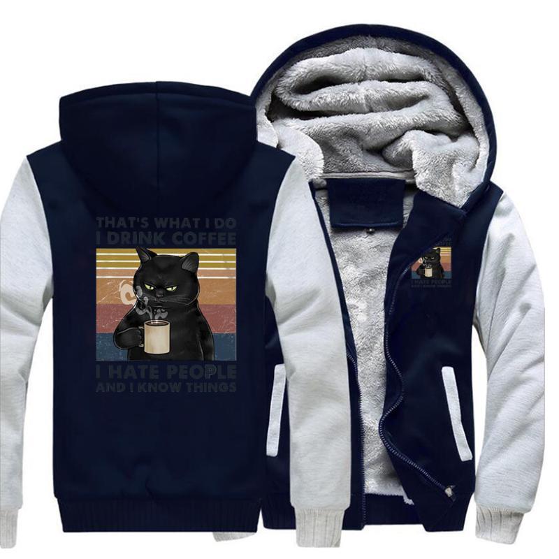 Eso es shat i hago tomar café odio gente gatos chaquetas hombres 2020 primavera vellón cremallera sudaderas chaqueta masculina streetwear