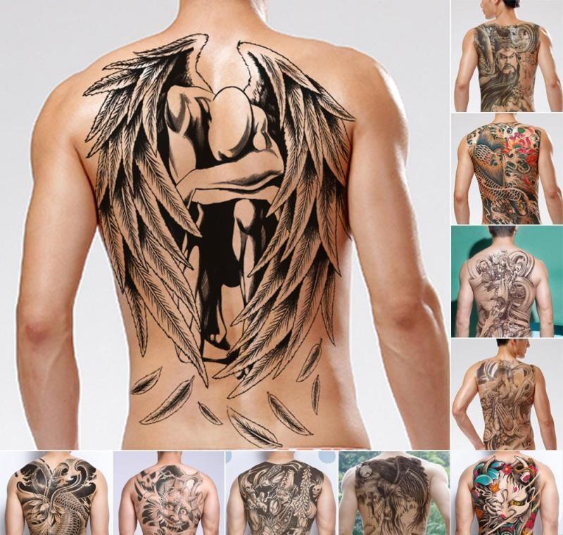 Mann für B3 Männer Tätowierungen Wasser gefälscht temporärer Aufkleber Chinesische C18122801 Tattoo Transfer Tattoo Wasserdichte Flash 48x34cm Gott zurück SQCBR
