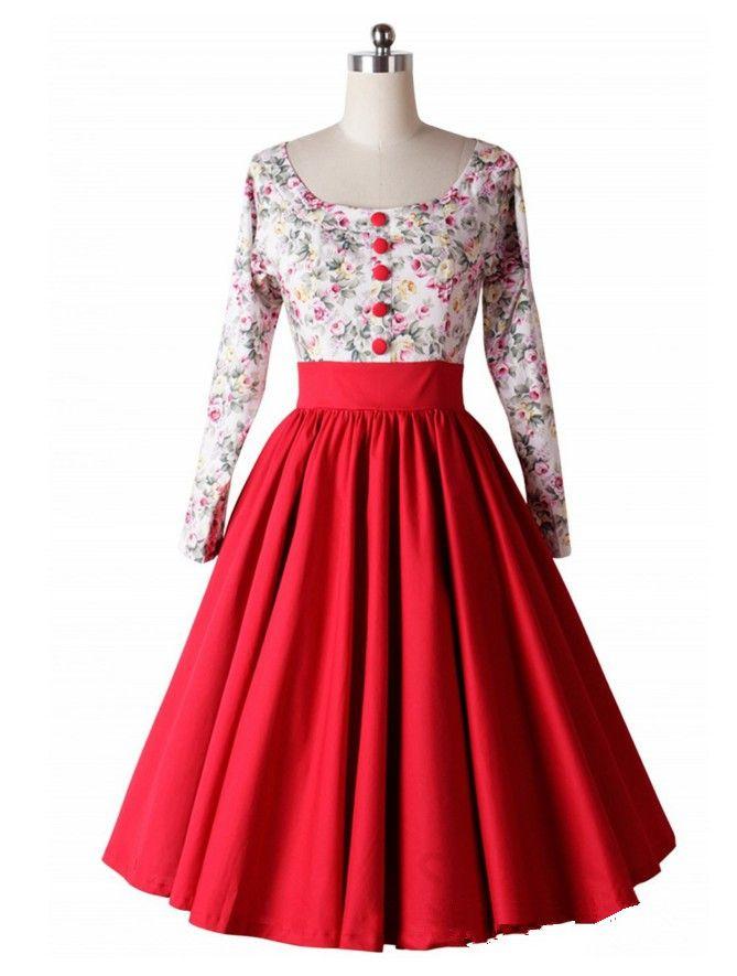 2019 mode drucken kleid sommer frühling frauen langarm kleid floral vintage retro kleider mit hoher taille vestidos de festa robe femme