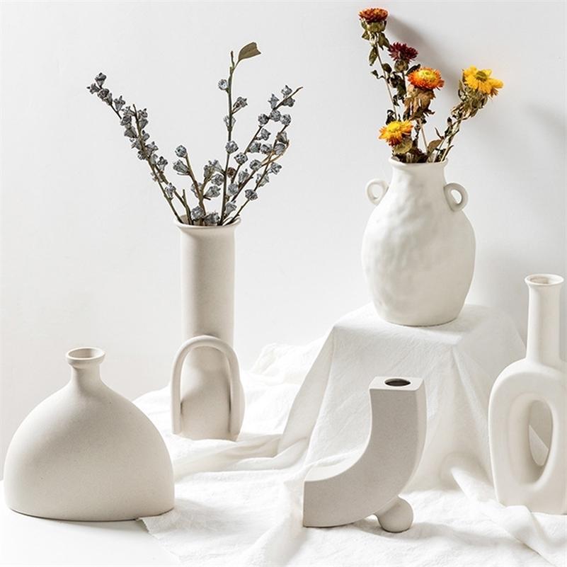 Nordic Ins Ceramic Vase Home Украшения Белый Вегетарианский Керамический Цветочный горшок Вазы Ремесло Подарки Nordic Украшения Домашний Аксессуары LJ201209