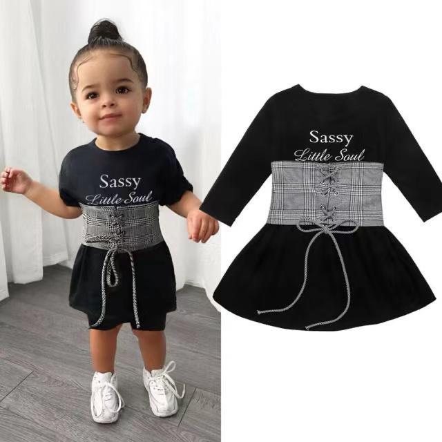 Wholesale Cute Kids Baby Girls Dress+Belt 2pcs 1-6Y Long Sleeve Letter A-Line Dress+Plaid Belt Vest Outfits Set