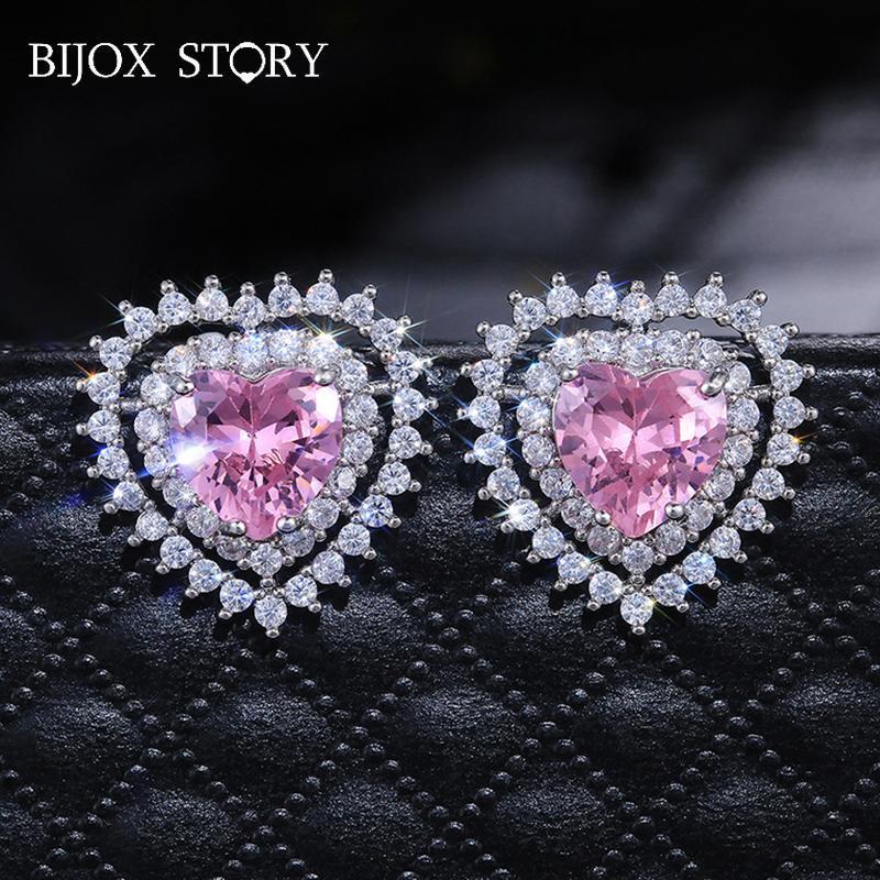 Bijox Story Charms Ohrringe 925 Silber Schmuck mit Herzform Rosa Zirkon Ohrstecker Für Frau Hochzeit Engagement Party Geschenk