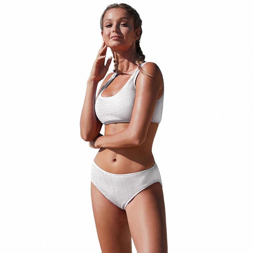 2020 Nouveaux maillots de bain en deux pièces européennes et américaines Couleur féminine Sexy Bikini Bikini Natation Thread Jacquard Triangle # CD8B