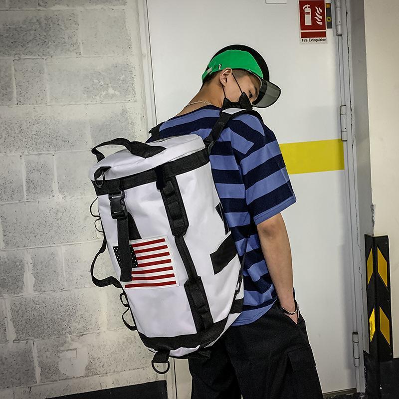 Lism 2019 Moda uomo Zaino da donna Grande borsa a tracolla di viaggio Capaciy Borsa da viaggio maschile Sport Palestra Fitness Sacchetti cilindri di fitness Zaino hip-hop