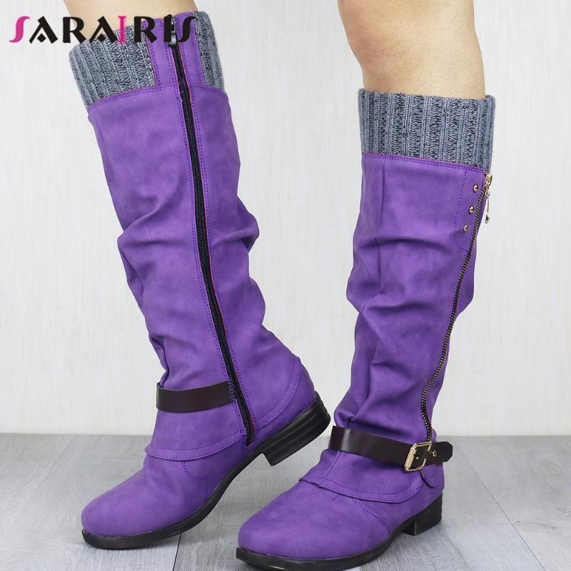 SARAIRIS Big Size 35-43 Ladies Classic Retro Daily Boots Mid Calf Boots Women Chunky Heels Buckle Zipper 2020 Shoes Woman1