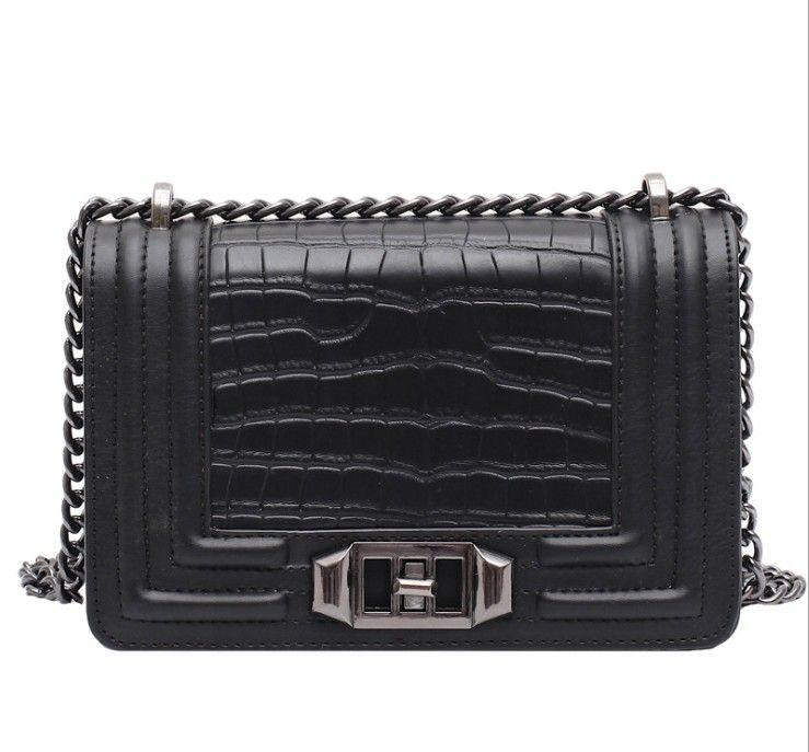 Hombro Pequeñas Bolsas de Crossbody Para Mujeres Moda Bolso Alligator High Quality PU Caine Cadena Bag Bag New Black
