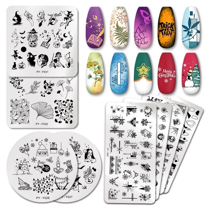 Pict You Рождественские ногтей штамповка плитки плиты снежинки Фестиваль шаблон ногтей арт изображений тарелки из нержавеющей стали ногтя тарелка трафарет