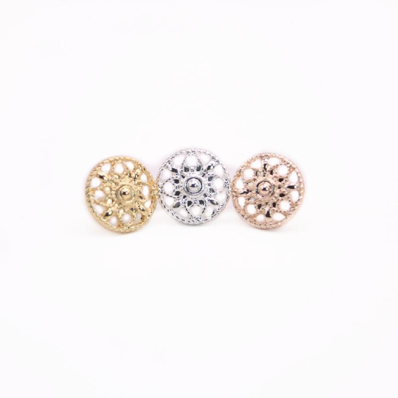 Round Style Bonitos Flores Brincos Brincos Oco Out Design Ouro Branco Rosa Três Cor Opcional Para As Mulheres