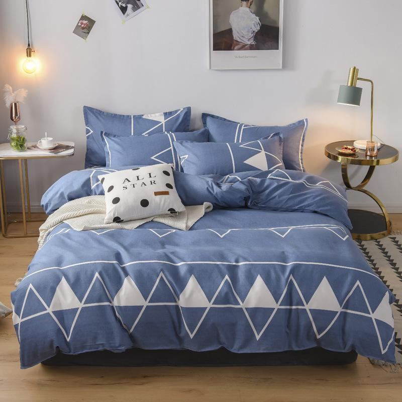 Pure Cotton Four Piece Set Thickened Three Autumn Winter Bed Sheet Pillow Cover Quilt Household Bedding