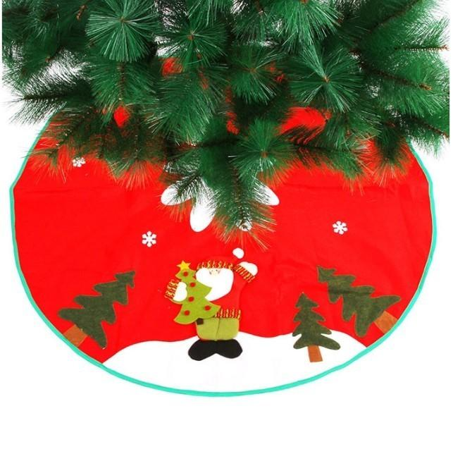 90cm Santa Claus Snowflake Small Red Nov-woven Tree Skirt New Year 2020 Christmas Decoration for Home