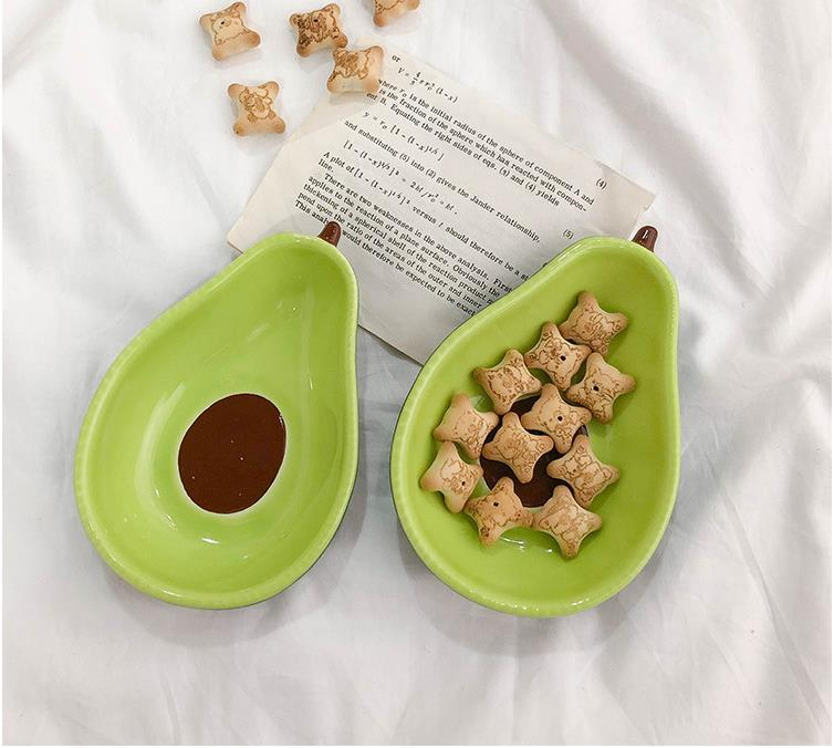 Placa de cerámica de aguacate Desayuno para niños Tazón de fuente Vajilla Placa Placa Snack Placa Ensalada Bowl Photo Props SN1900