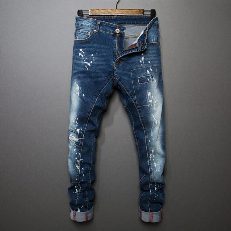 Classic Denim Jeans Slim Slim Skinny Jeans de Alta Calidad Masculino Masculino Estiramiento Nuevo Moda Vaquero Pantalones Tamaño 38