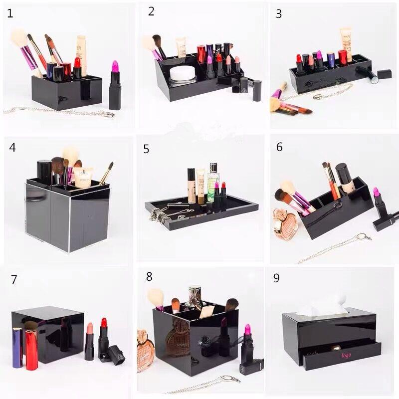 Caja de maquillaje acrílico clásico Holder cosmético Espejo de escritorio Herramientas de maquillaje de lápiz labial Joyas de almacenamiento Bandeja Caja de tejido para caja de boda