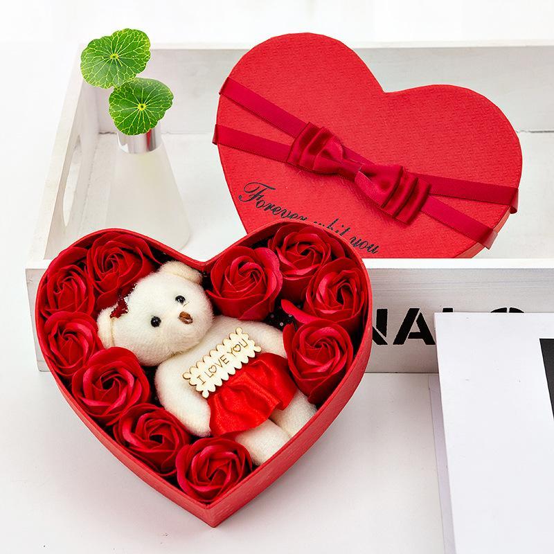 Sevgililer günü Gül Hediye Kutusu 10 Çiçekler Sabun Çiçek Hediye Kutusu Gül Çiçek Kutuları Ayı Buket Düğün Doğum Günü Partisi Süslemeleri Hediye GWA2924