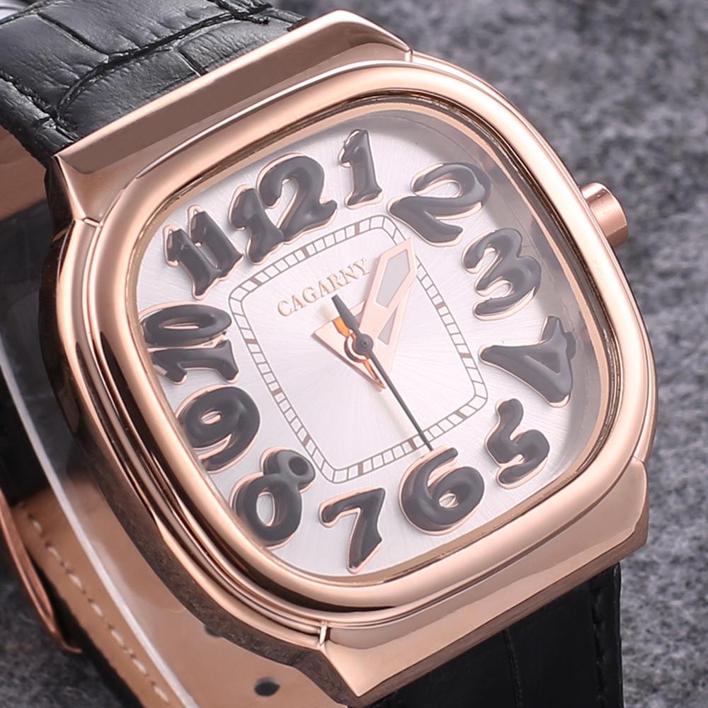 Moda Gül Altın Bayan İzle Rahat Deri Kuvars Saatler Bayanlar Kare Saatler Dijital Dial Saat 45mm Montre Femme
