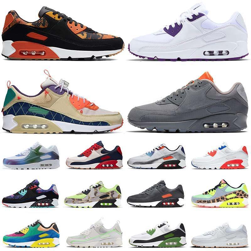 Nike Air Max 90 90s Koşu Ayakkabıları Erkek Kadın Yeni Beyaz Sakız Mahkemesi Mor Trail Takımı Altın Eğitmenler Koşucular Spor Ayakkabıları Eur 46