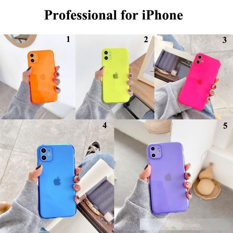 Massive transparente Telefonkasten für iPhone 11 Pro max XR x x x 7 8 PLUS Neon Case Weiche Süßigkeiten Farbe Back Cover