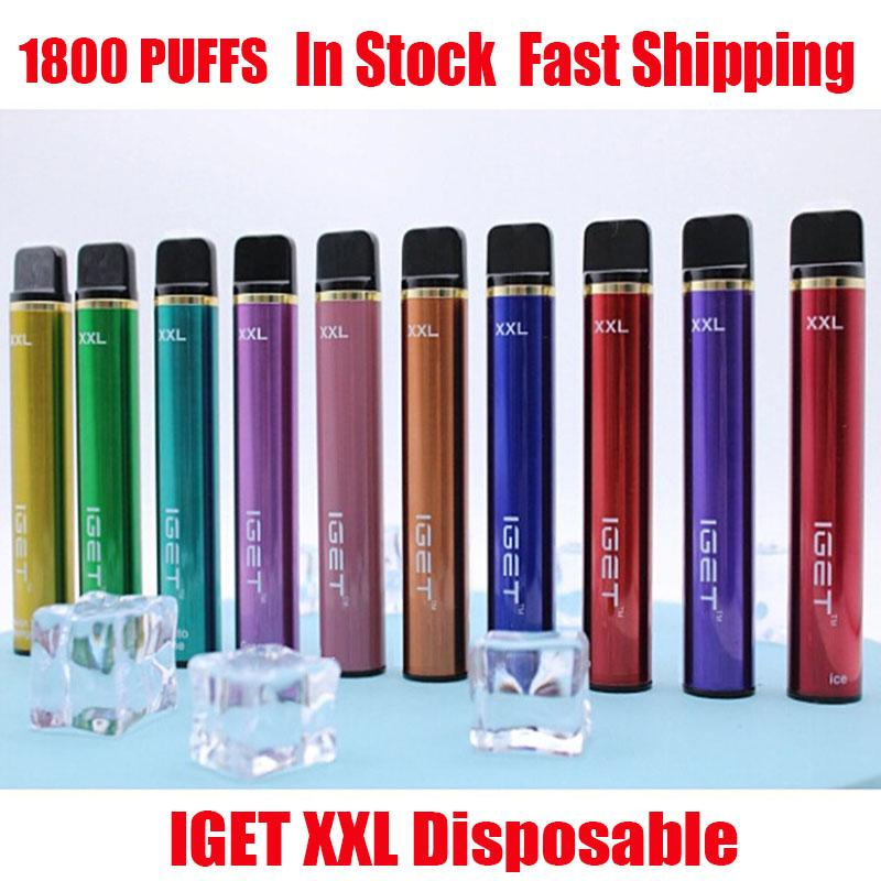 Original IGET XXL-Einweg-Pod-Gerät-Kit 1800-Puff 950mAh 7ml Vorgefestigt Vape-Stick für Bang-Shion Lite plus Max-Flow 100% authentisch