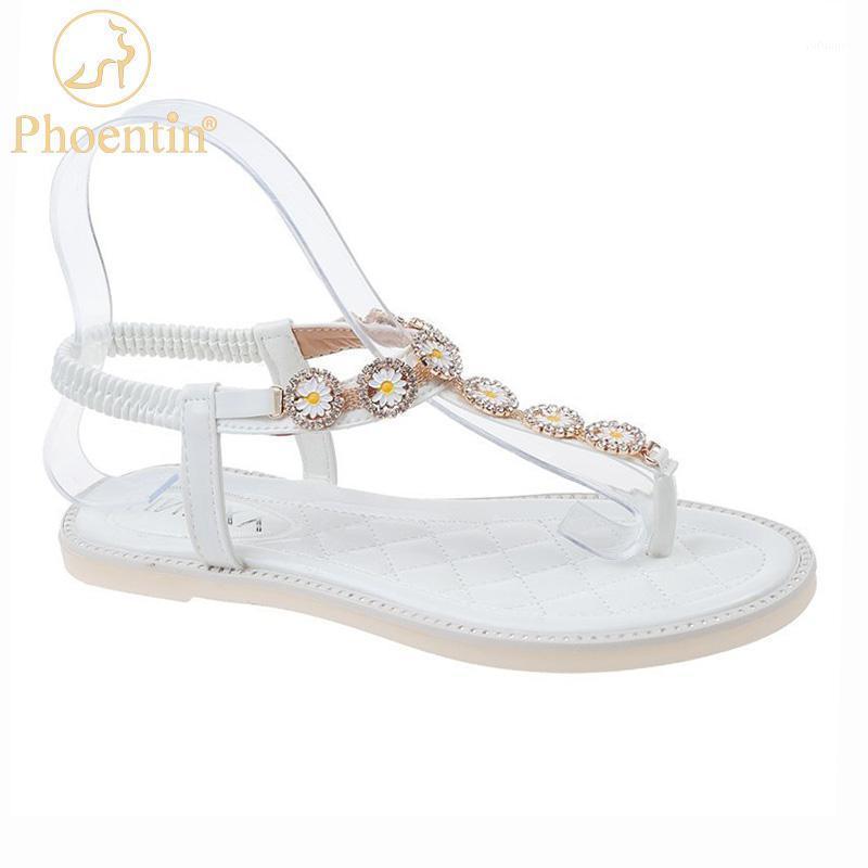 Phoenin Blanco Flip Flops Sandalias Playa 2020 Nueva llegada Flores de cristal T Strapy Flats Banda Elástica Sombrillas de verano FT10081